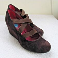 Pons Quintana Brown Suede Wedge Heel Pumps High Heels EU 37.5 Women's Size 7.5