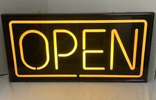 "Black Orange Yellow Business Open Electric Sign Illuminated Hang Light 30"" x 15"""