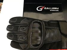 Mens Perforated Pursuit Street Stealth Leather Motorcycle Gloves Black