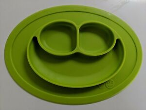 EZPZ The Mini Mat In Bag - Green Suction Placemat + Plate, One Piece, Silicone
