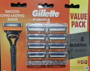 GILLETTE FUSION5 ONE PACK OF 8 BLADES BRAND NEW GENUINE BLADES Free Postage