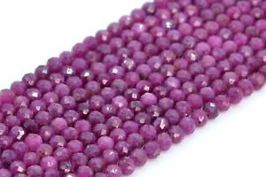 """4MM Genuine Natural Ruby Beads Grade AAA Faceted Round Gemstone Loose Beads 15"""""""