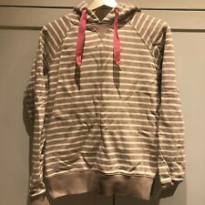 Joules Beige and Cream Striped Hooded Jumper - Size 12