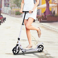 HOMCOM Kick Scooter Folding 2 Big Wheels Adjustable  Adult Teens For 14+ White