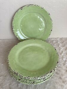 """Tommy Bahama Green Crackle Rustic MELAMINE 11"""" Dinner Plates Set Of 6 NEW"""