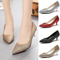 Ladies Pointed Toe Glitter Party Prom Shoes Women Low Mid Kitten Bridal Pumps