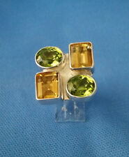 CHARLES ALBERT 92.5 STERLING SILVER LARGE PERIDOT & CITRINE ADJUSTABLE RING