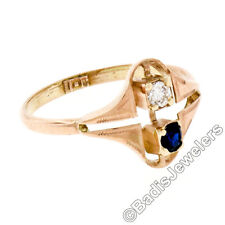 Vintage 10K Rosy Yellow Gold 0.23ctw Diamond & Sapphire Petite Open Etched Ring