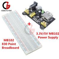 MB102 Solderless Breadboard PCB 830 Point +MB102 Power Supply Module 3.3V/5V