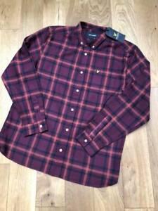 "Brand New  Lyle & Scott Check Flannel Shirt in claret/navy  Regular fit  XS 19"""