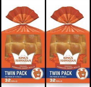 2 PACKS Of King's Hawaiian Sweet Rolls Original (32 ct) Free Shipping! 64 Total!