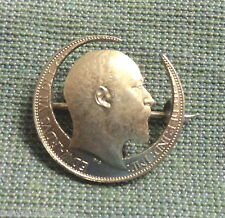 From 1902 British Halfpenny #D208. Gold Plated Brooch Made
