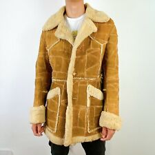 Leather Coat Mens 44 Vintage 1970s Suede Patchwork Wool Shearling Distress Rare