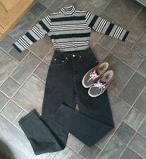 "90s vintage high waist black mom jeans.UK 4/6. L32"". Grunge. Pepe Betty. BNWT"