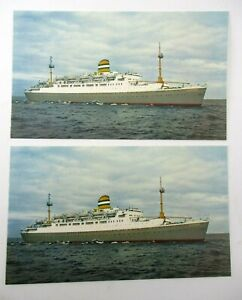 2 Unused 1950s Postcards from Holland America Line SS Maasdam Cruise Ship