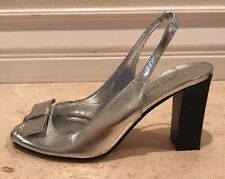 JON JOSEF Silver Leather Sling Back Open Toe High Heels Cute Bow Sz 6 M Italy