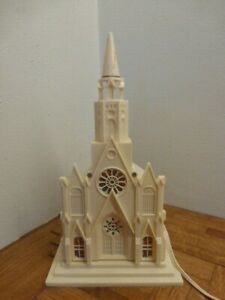 Vintage 1950's Christmas Raylite Church Cathedral Electric Light Music Box