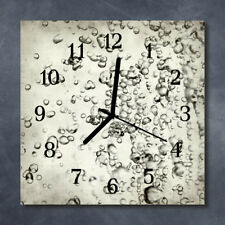 Glass Wall Clock Kitchen Clocks 30x30 cm silent Drops Grey