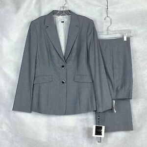 TAHARI NWT Womens  gray micro check Polyester Blend Pant Suit 10 :
