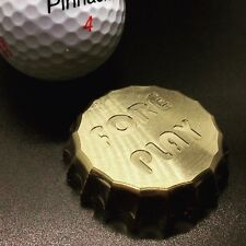 """Golf Ball Marker Bottle Cap Engraved """"Fore Play"""" Machined Brass Raw Finish USA"""