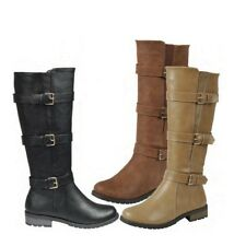 New Buckle Knee High Motorcycle Riding Boots Elastic Gore Lug Sole Low Flat Heel