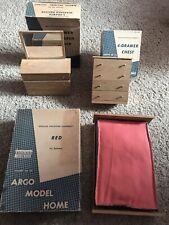 Vintage! ARGO Danish Modern 1958 Barbie furniture BED CHEST MIRROR DRESSER Wood