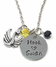"925 Silver Plt 'Hook Loves Swan' Once Upon A Time Captain Emma Necklace 18""  B"