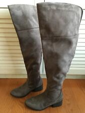 City Classified Women's Dark Taupe Over The Knee Open Back Cuff Boots Size 5.5M