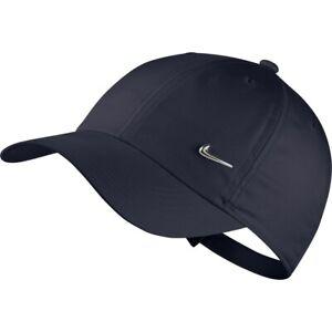 Nike Junior Youth Metal Swoosh Heritage Cap Hat Boys Girls Unisex Navy / Silver