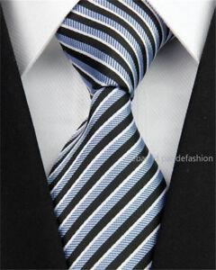 Woven 100% Pure Silk Neck Tie Back Grey White Diagonal Stripes Pattern