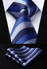 Hisdern Party Mens Navy Blue Gray Tie Striped Necktie Handkerchief Set#TS717V8S