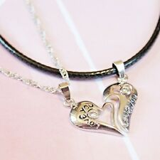 925 Sterling Silver Romantic Zircon Two in One Heart Pendant Couple Necklaces