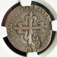 1642, Portugal, John III/IV. Mule Tostao Coin w. 120 Reis Countermark! NGC XF45!