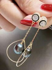 Certified Natural Black Pearls Earrings 925 Silver Plated 18k Gold Gifts