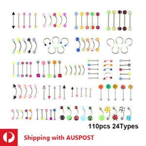 Bulk 110pcs 20 Types Belly Tongue Ear Lip Nose Eyebrow Piercing Surgical Steel