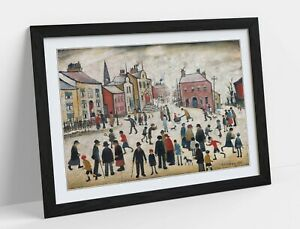 LS LOWRY, PEOPLE STANDING ABOUT -FRAMED POSTER WALL ART PRINT ARTWORK- BEIGE