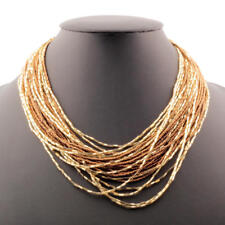 Vintage 25 strand necklace bronze seed gold lined bugle Czech glass beads