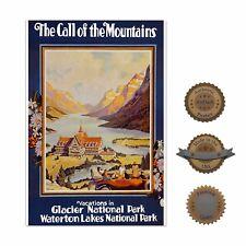 "13""×19"" Historic Decorative Art Poster: Glacier National Park Mountain Snow Camp"