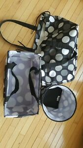 3 PC Thirty One 31 HAPPY DOT Round Bin-Med Storage-Soft Duffle UTILITY Totes