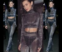 Women Shimmer Mesh See Through Palazzo Party Trousers 2 Pcs Set Long Sleeves Top