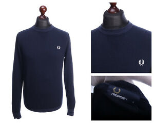 FRED PERRY Dark Blue Cotton Crew Neck Jumper Sweater Size S