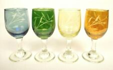 Vintage Cordial Glass Liqueur Sherry Multi Colored Etched Footed Stemmed Set 4