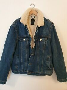 NEW LOOK MEN Heavy Fleece Lined Denim Jacket Size XXL