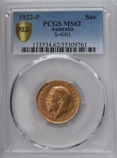 More details for 1922-p gold sovereign pcgs ms62 australia s-4001 sov coin