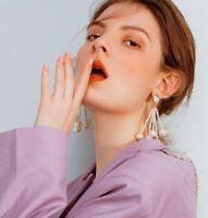 Trendy Women Elegant Fashion Earrings Ear Stud Dangle Tassel Long Pearl Earrings