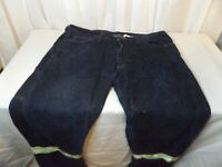 Crude Mens 38 x 34 Fire Resistant FR Blue Jeans Denim Carpenter reflected stripe