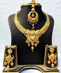 Indian jewelry bridal wedding bollywood matar mala necklace set copper jhumka necklace gold plated high quality punjabi rajwada set ethnic .