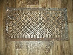 Vintage Cast Iron 14 x 26 Ornate Wall Floor Heating Vent Register GRATE