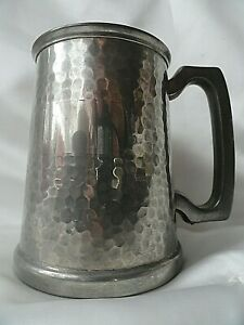 Vintage Hammered English Pewter Sheffield Beer Mug Tankard  11 cm.