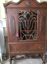 WOW! Ornate Antique Walnut China Cabinet~PROFESSIONALLY REFINISHED W/ CONTENTS🌟